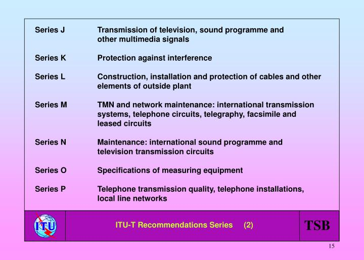 Series JTransmission of television, sound programme and