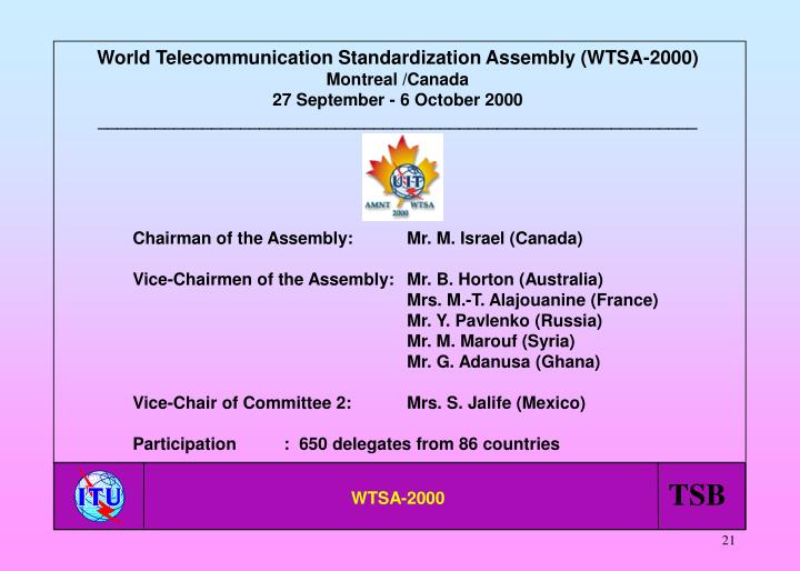 World Telecommunication Standardization Assembly (WTSA-2000)