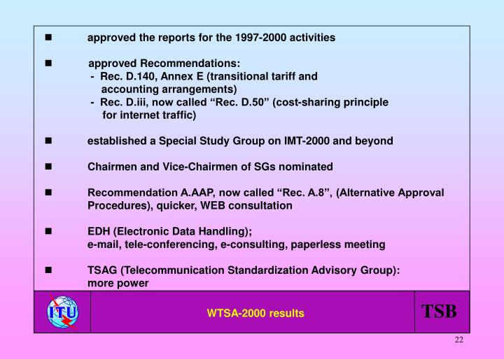 approved the reports for the 1997-2000 activities