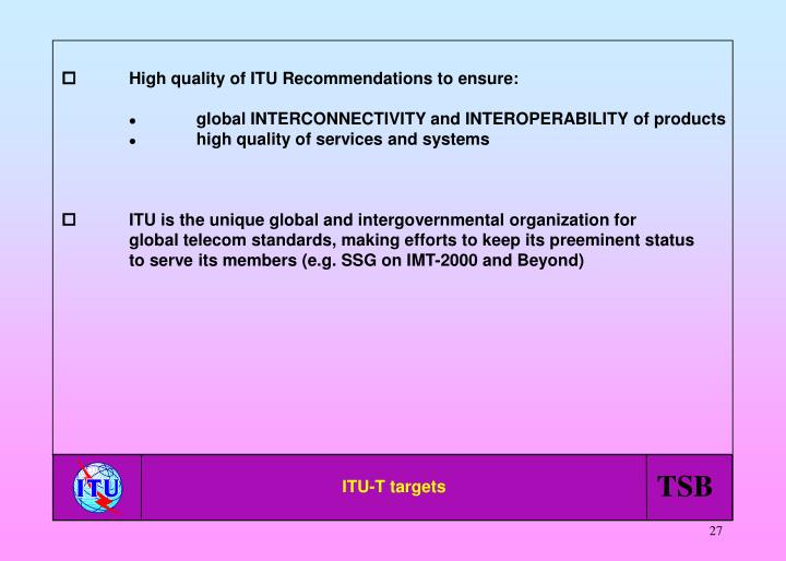 High quality of ITU Recommendations to ensure:
