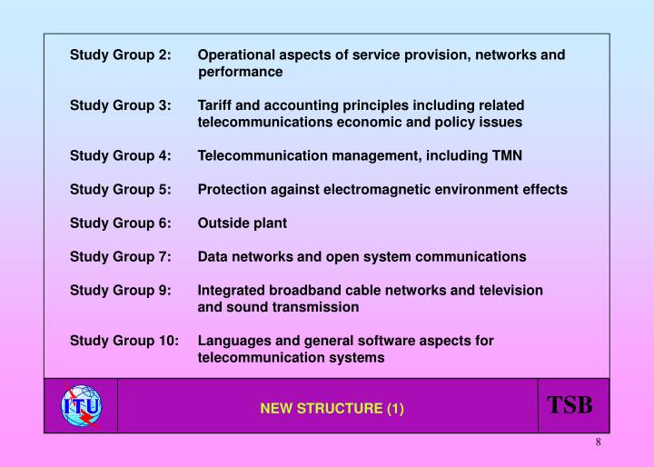 Study Group 2:    Operational aspects of service provision, networks and