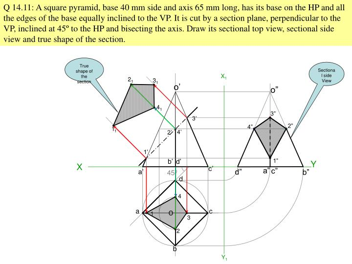 Q 14.11: A square pyramid, base 40 mm side and axis 65 mm long, has its base on the HP and all the edges of the base equally inclined to the VP. It is cut by a section plane, perpendicular to the VP, inclined at 45