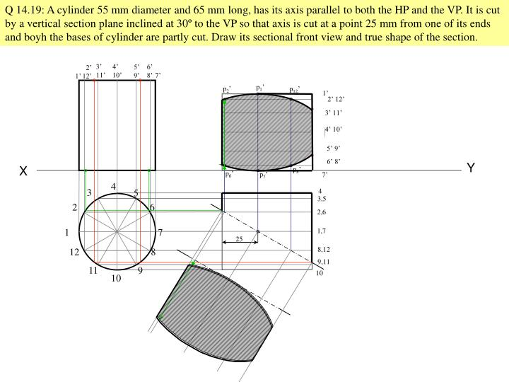 Q 14.19: A cylinder 55 mm diameter and 65 mm long, has its axis parallel to both the HP and the VP. It is cut by a vertical section plane inclined at 30
