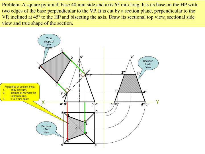 Problem: A square pyramid, base 40 mm side and axis 65 mm long, has its base on the HP with two edges of the base perpendicular to the VP. It is cut by a section plane, perpendicular to the VP, inclined at 45
