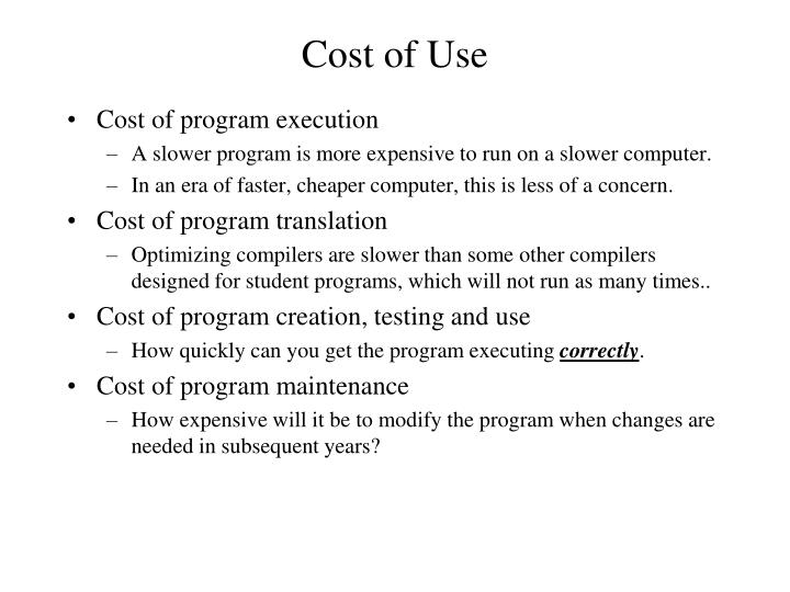 Cost of Use