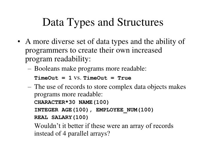 Data Types and Structures