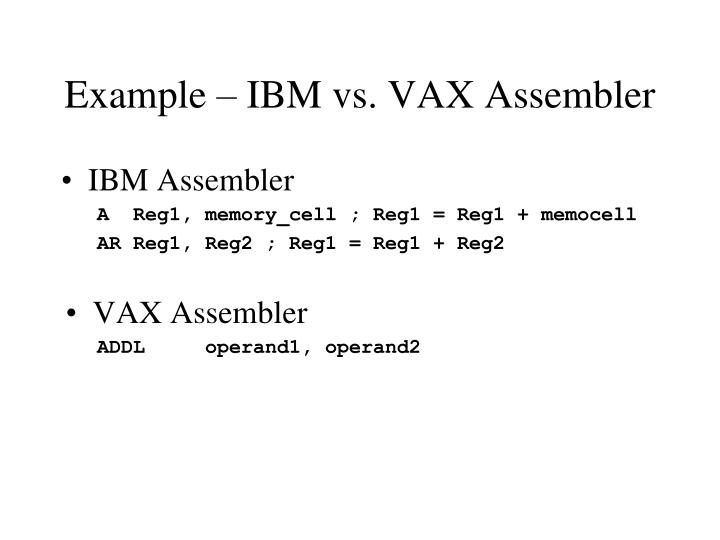 Example – IBM vs. VAX Assembler