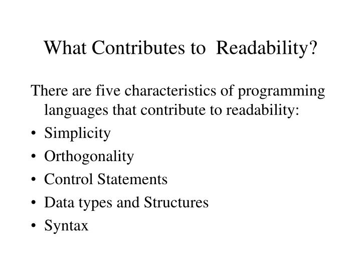 What Contributes to  Readability?