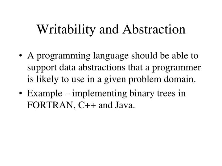 Writability and Abstraction