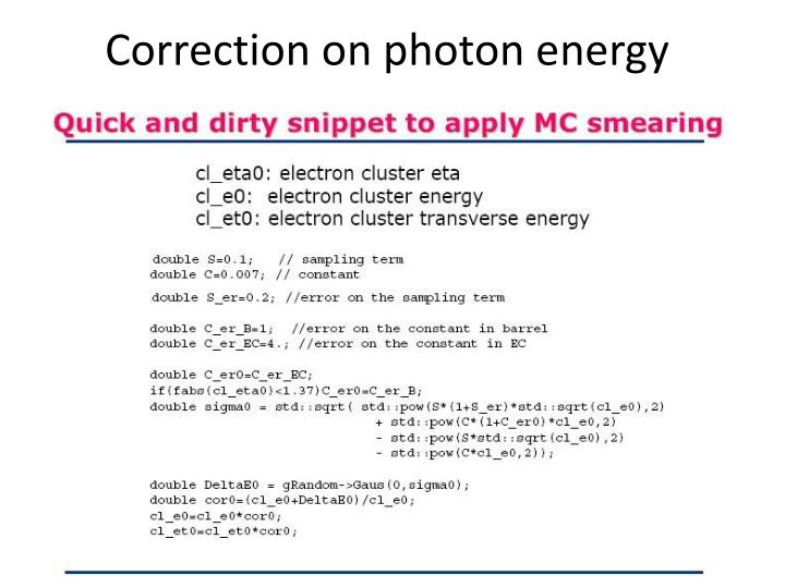 Correction on photon energy