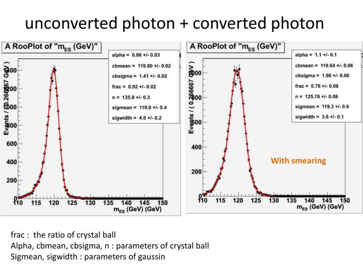 unconverted photon + converted photon