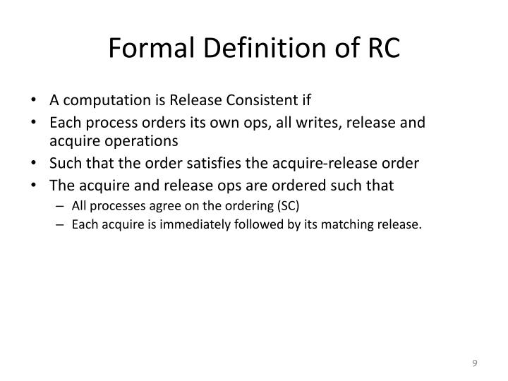 Formal Definition of RC