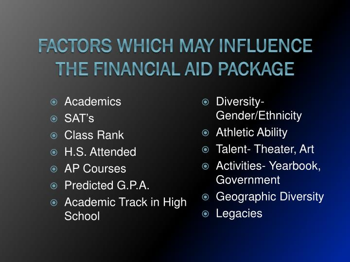 Factors Which May Influence the Financial Aid Package