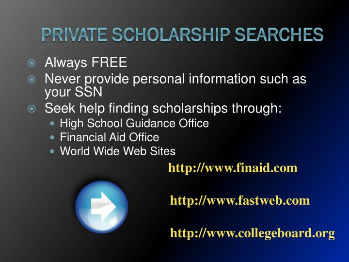 Private Scholarship Searches