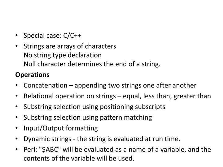 Special case: C/C++