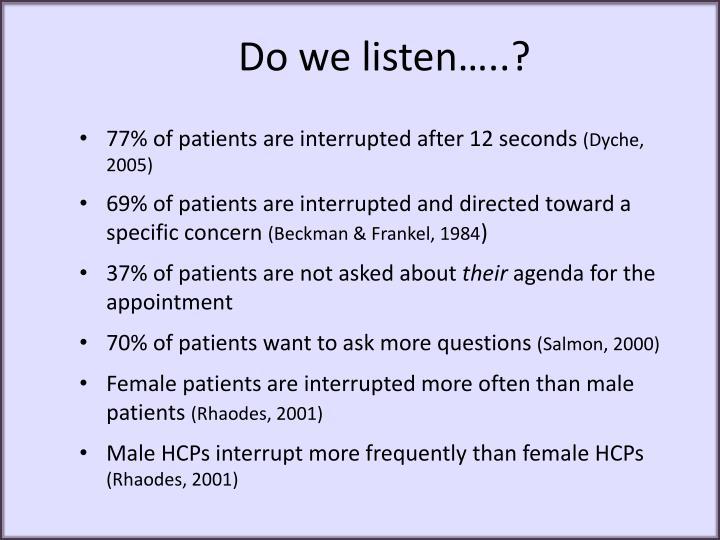 Do we listen…..?