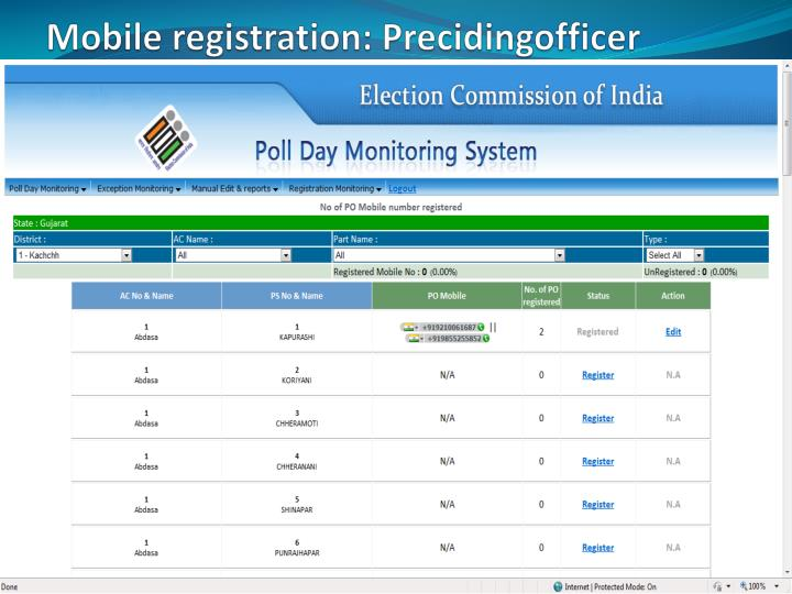 Mobile registration: