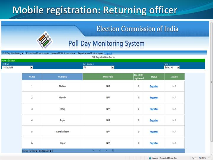 Mobile registration: Returning officer