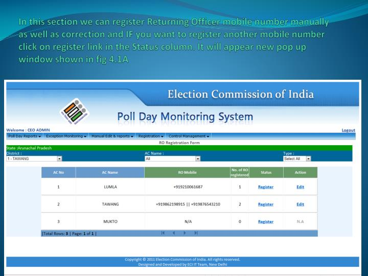 In this section we can register Returning Officer mobile number manually as well as correction and IF you want to register another mobile number click on register link in the Status column. It will appear new pop up window shown in fig 4.1A