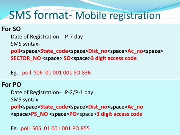 SMS format-