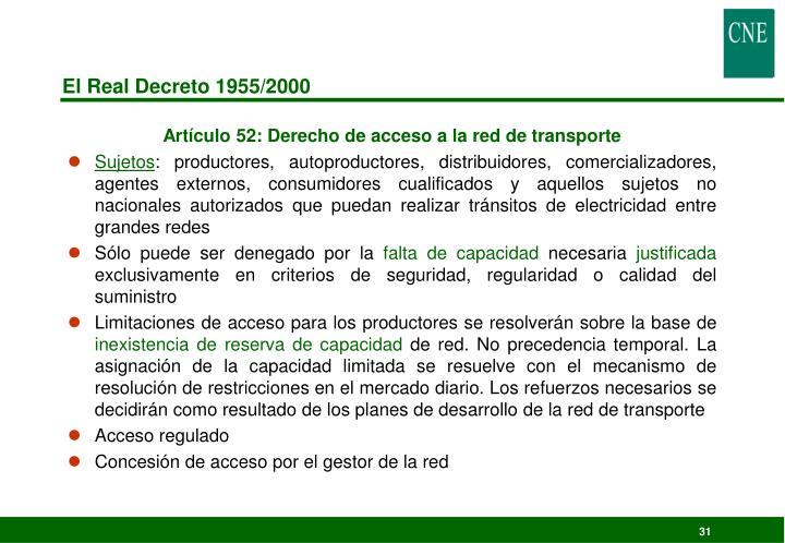 El Real Decreto 1955/2000