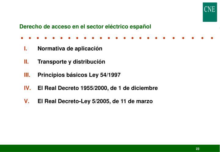 Derecho de acceso en el sector eléctrico español