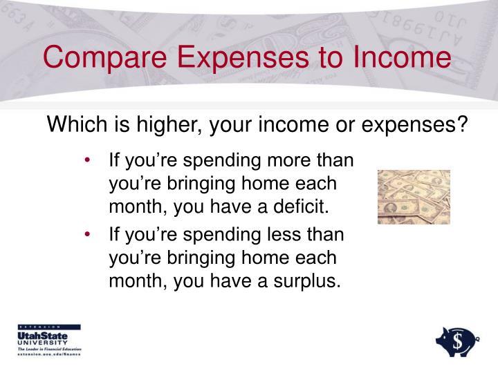 Compare Expenses to Income