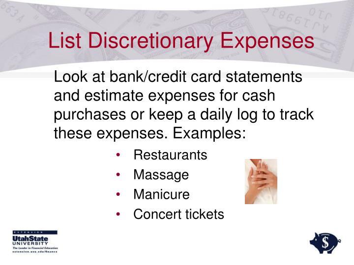 List Discretionary Expenses