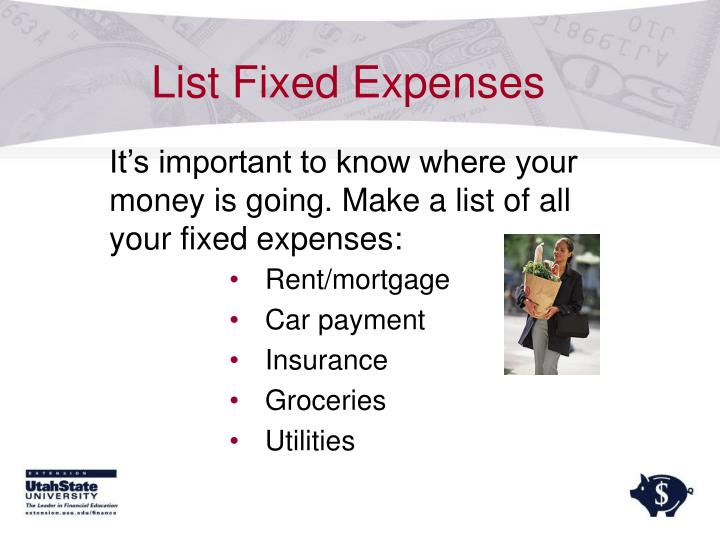 List Fixed Expenses