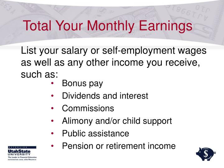 Total Your Monthly Earnings