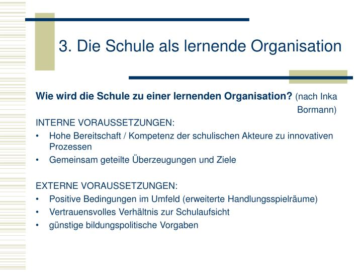 3. Die Schule als lernende Organisation
