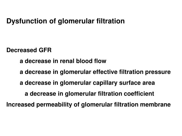 Dysfunction of glomerular filtration