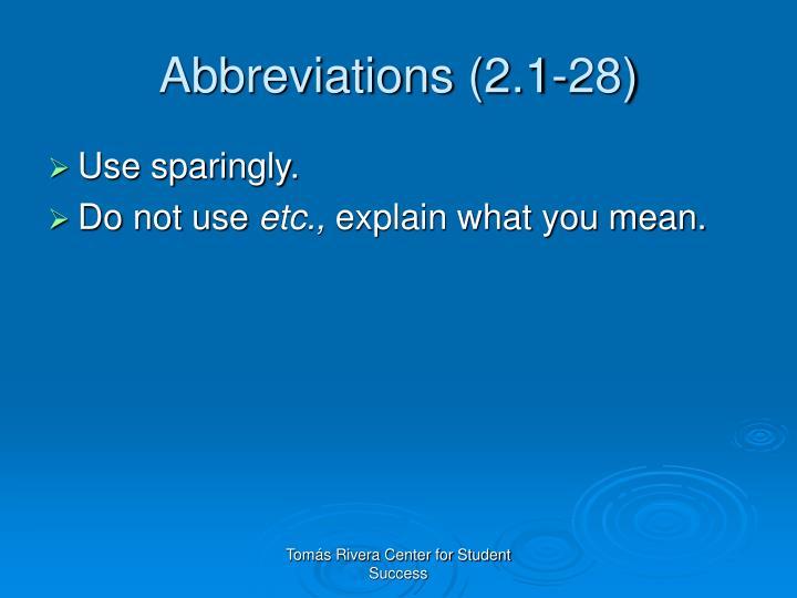 Abbreviations (2.1-28)