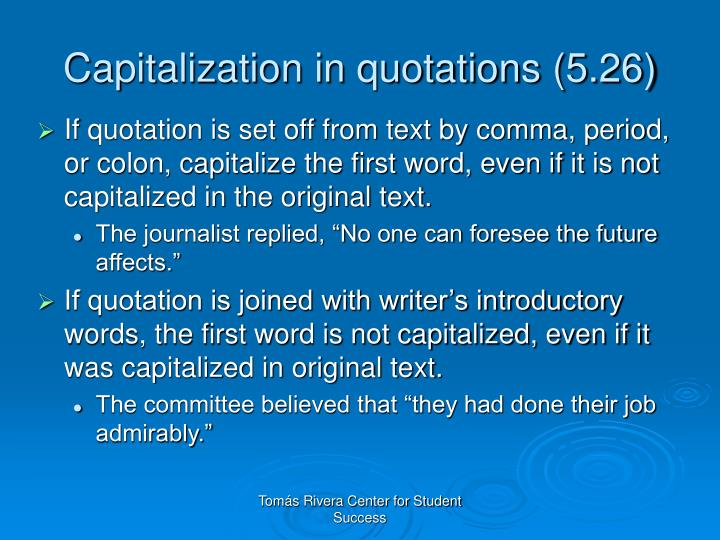 Capitalization in quotations (5.26)