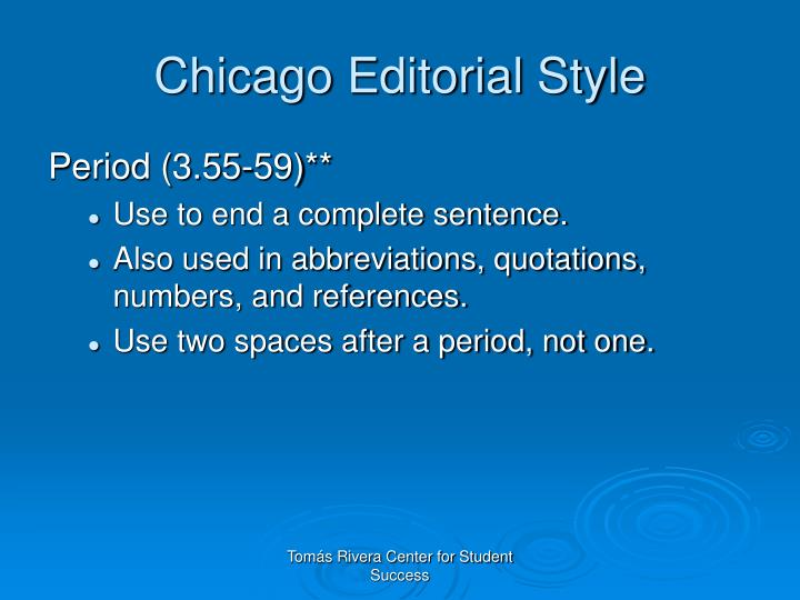 Chicago Editorial Style