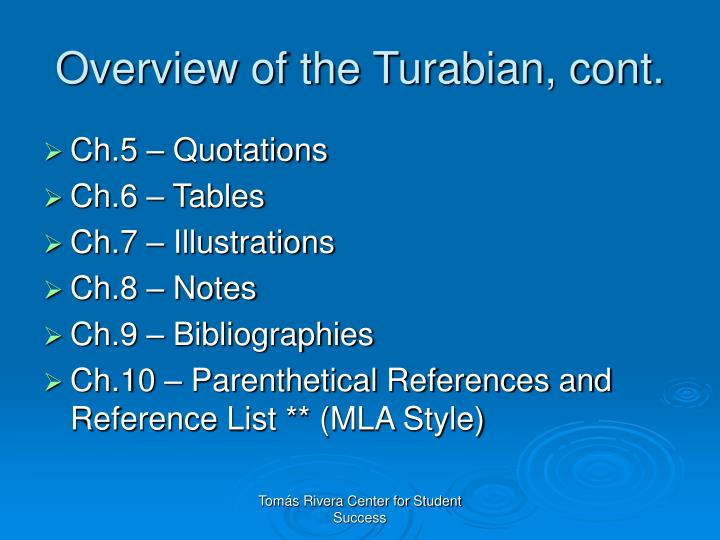 Overview of the Turabian, cont.