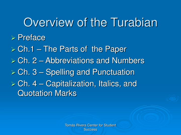 Overview of the Turabian