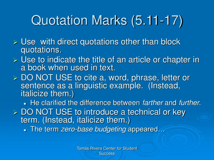 Quotation Marks (5.11-17)