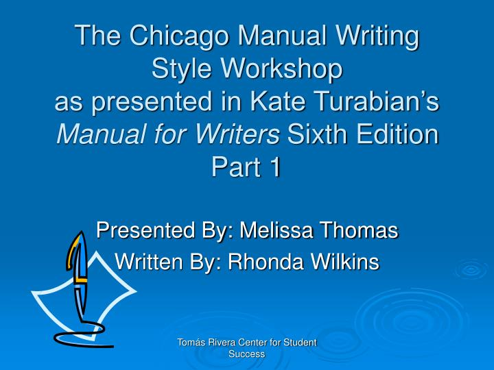 The Chicago Manual Writing Style Workshop