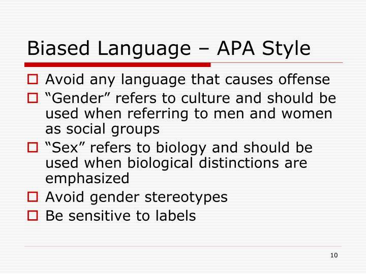 Biased Language – APA Style