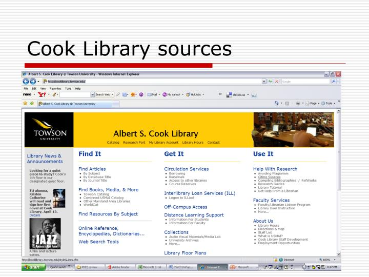 Cook Library sources