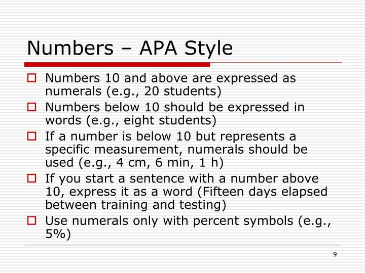 Numbers – APA Style