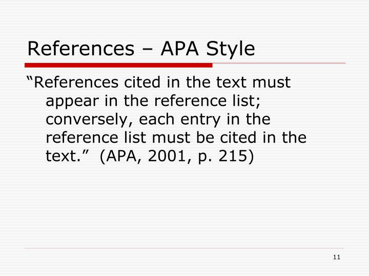 References – APA Style