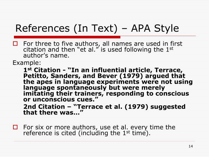 References (In Text) – APA Style