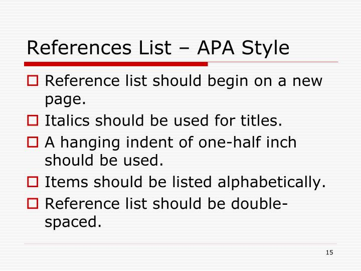 References List – APA Style