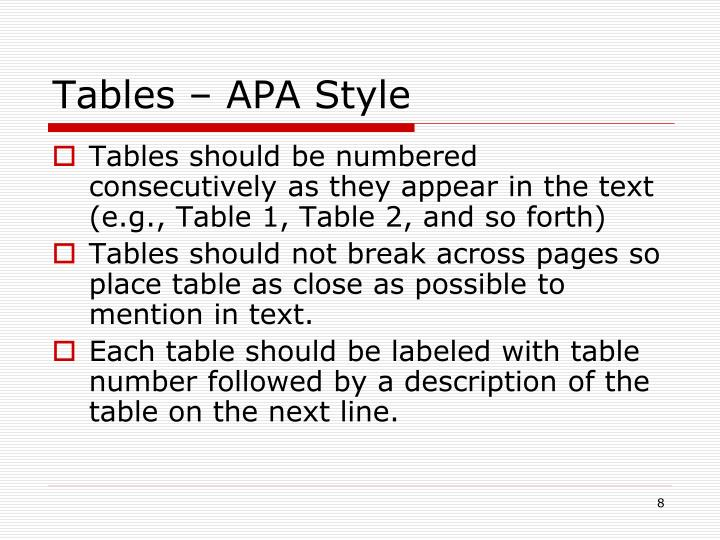 Tables – APA Style