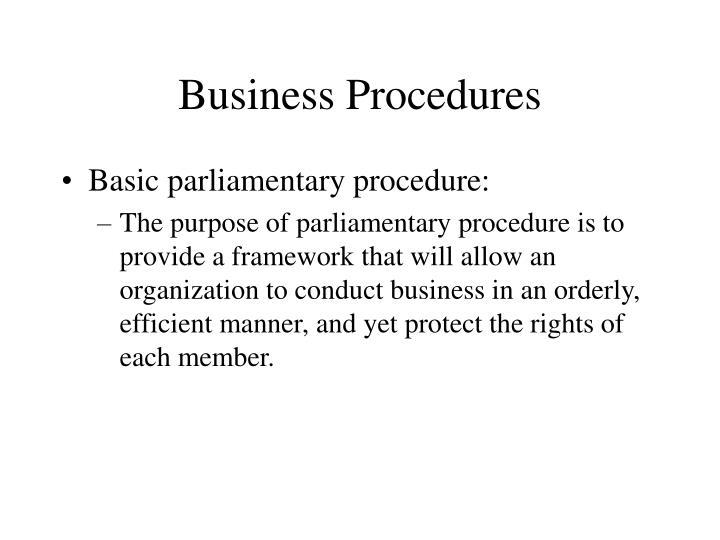 Business Procedures