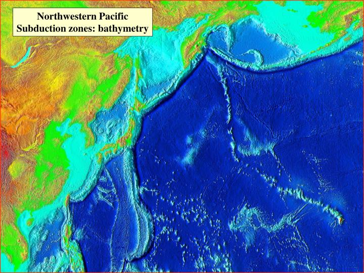 Northwestern Pacific Subduction zones: bathymetry