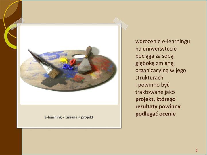 wdrożenie e-learningu na uniwersytecie pociąga za sobą głęboką zmianę organizacyjną w jego strukturach
