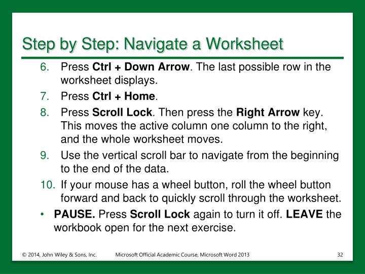 Step by Step: Navigate a Worksheet